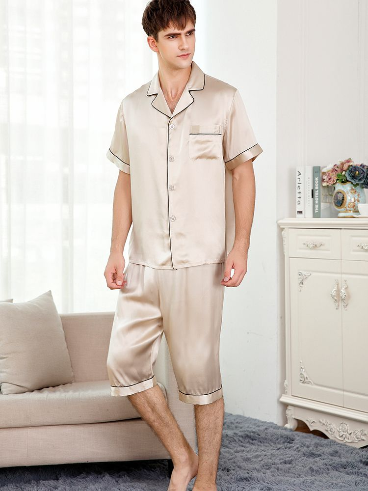 22 Momme Short Silk Pajama Set For Men