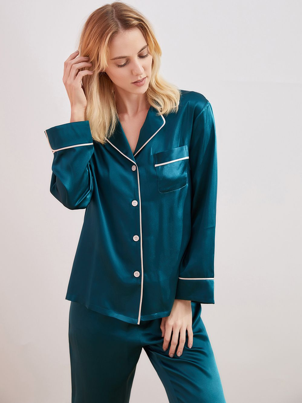 19 Momme Full Length Dark Teal Silk Pyjama Sets For Women