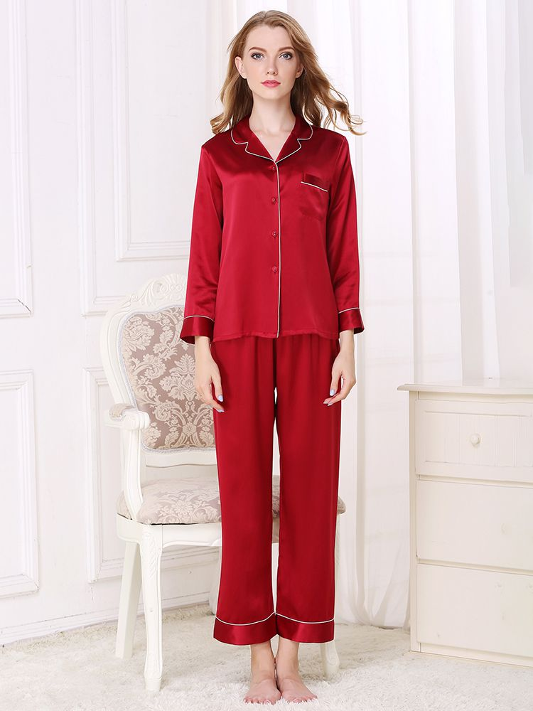 19 Momme Classic Long Silk Pajama Set For Women
