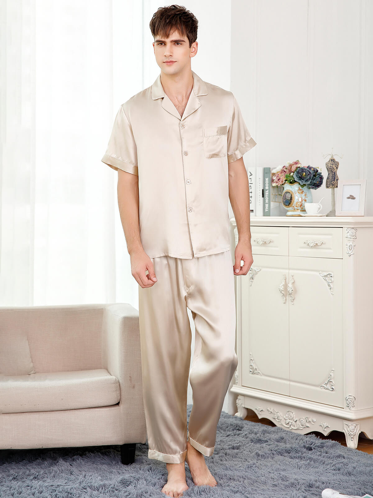 22 Momme Short Sleeved Silk Pajama Set For Men