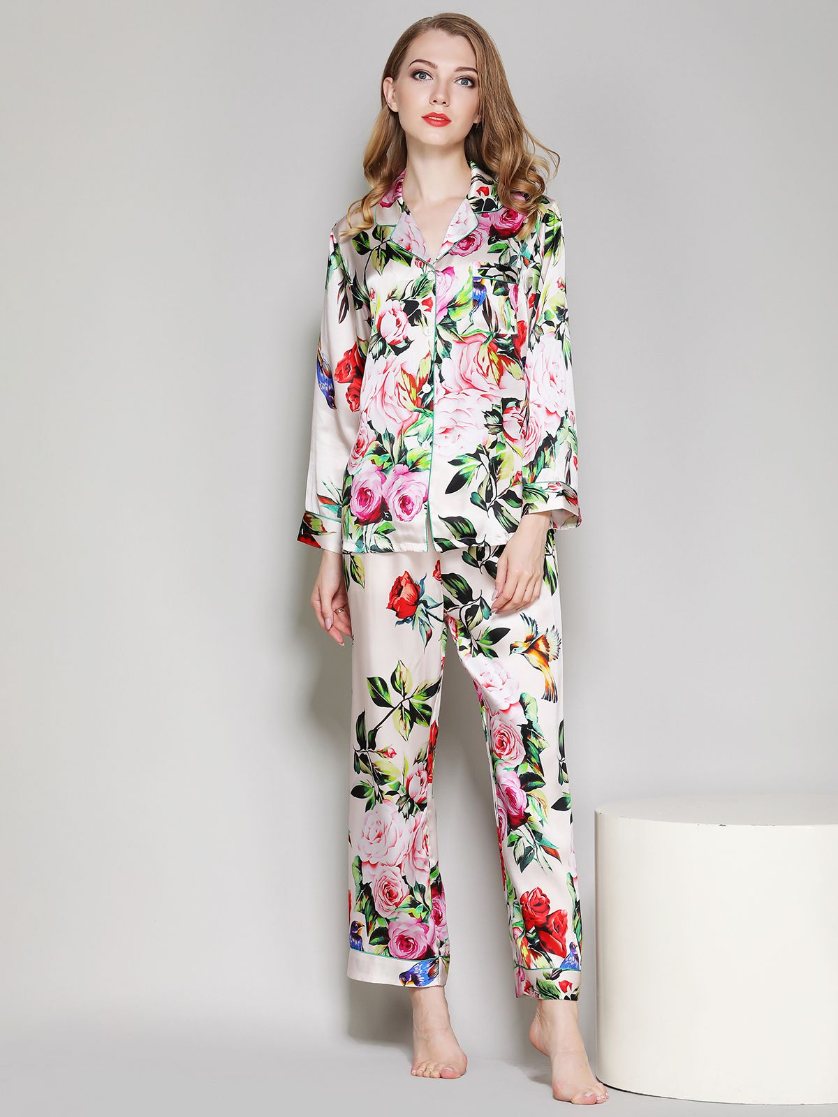 19 Momme Ivory Floral Printed Women Silk Pajama Set - Click Image to Close