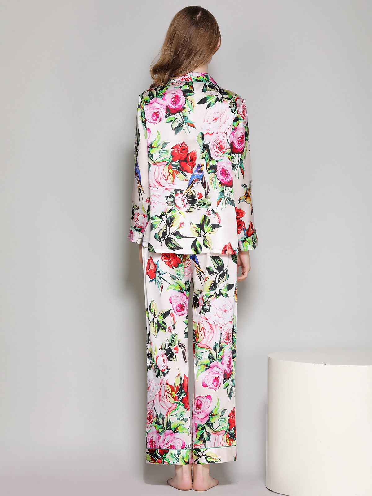 19 Momme Ivory Floral Printed Women Silk Pajama Set