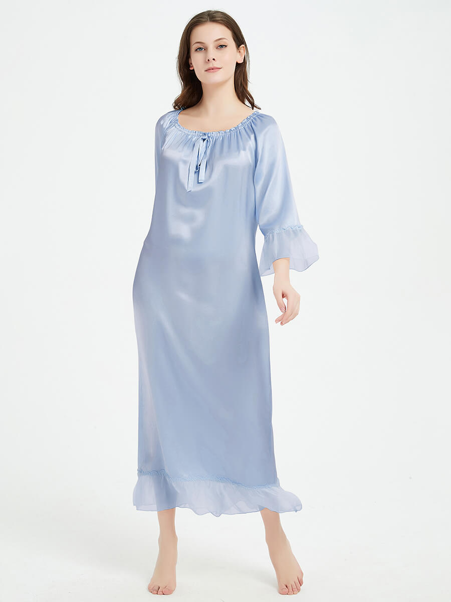 22 Momme Vintage Floor Length Silk Nightgown with Ruffles