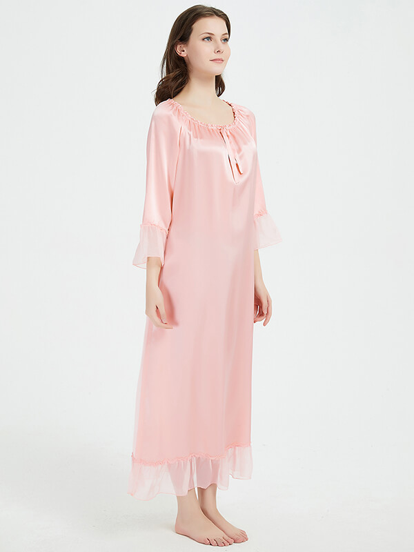 22 Momme Graceful Ruffled Full Length Silk Nightgown