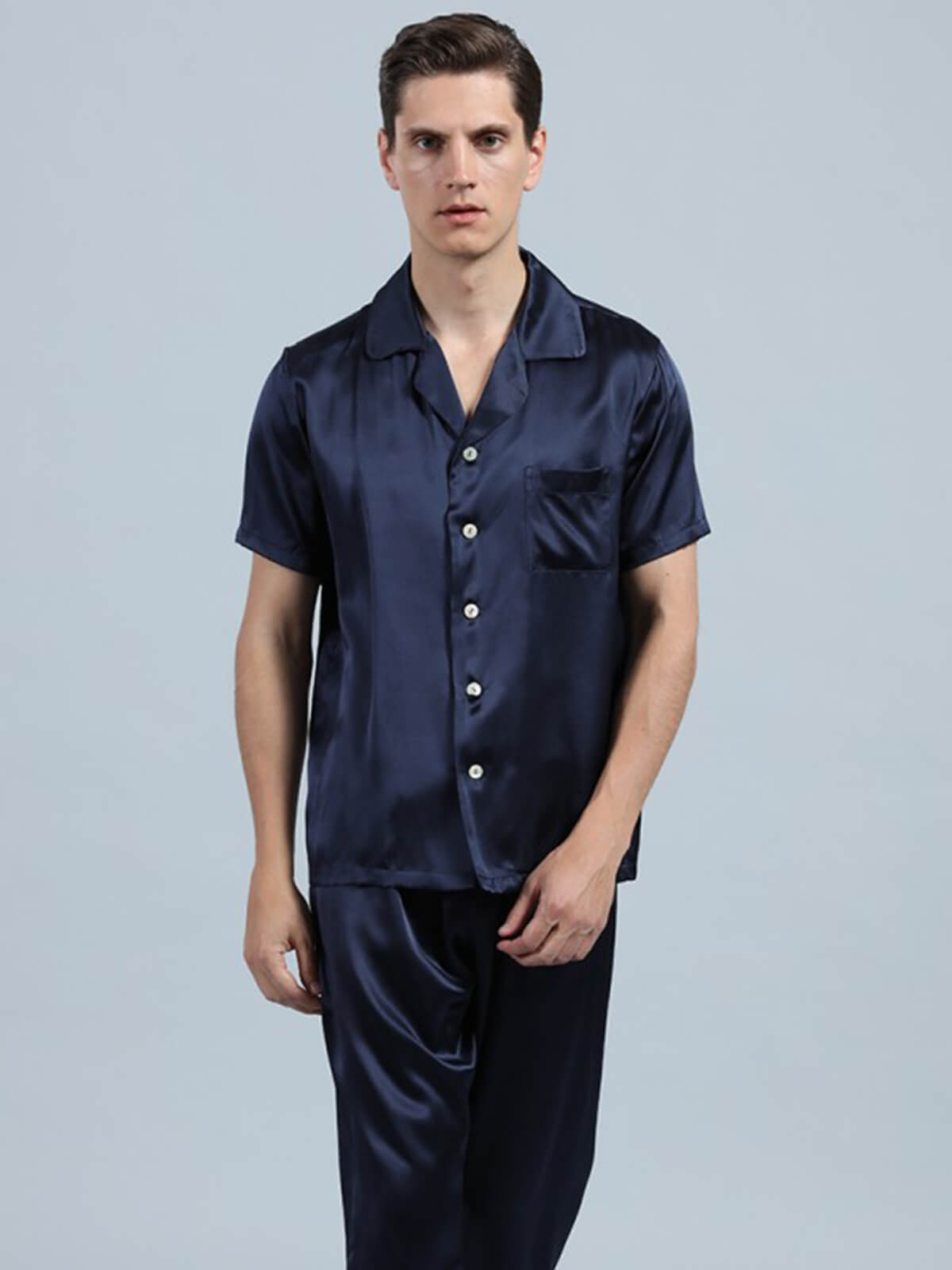 22 Momme Simple Silk Pajama Set For Men