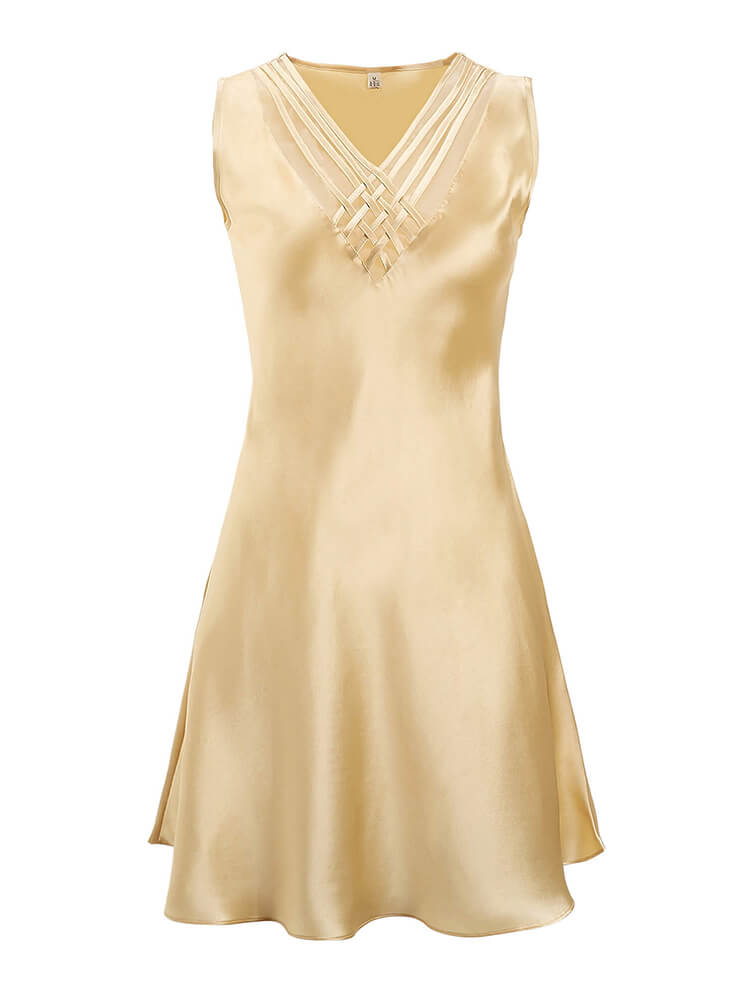 19 Momme Sexy Deep V-neck Silk Nightgown
