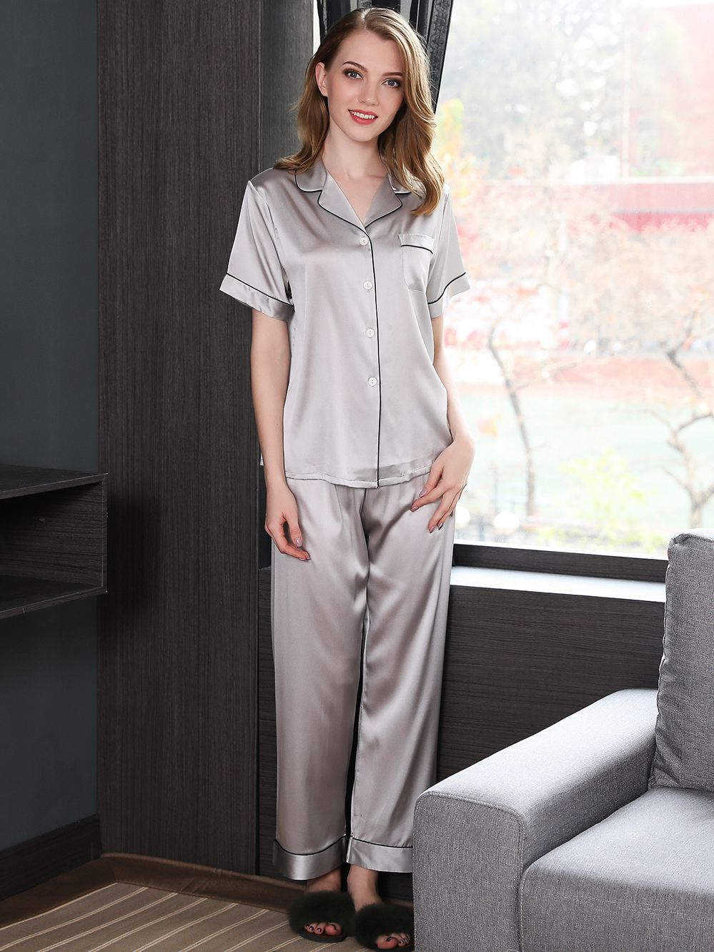 19 Momme Silk Shirt And Pants Pajama Set