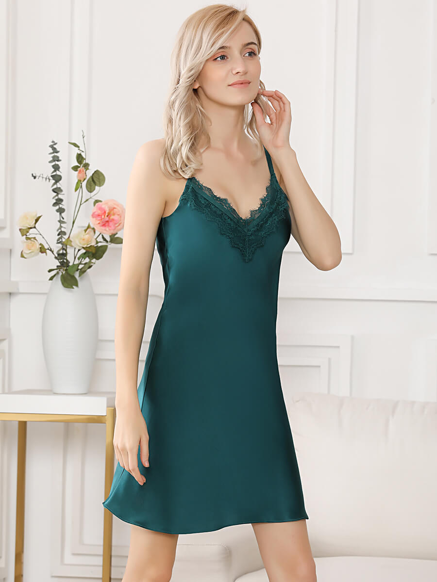 19 Momme Summer Short Silk Nightdress With Lace Trimming