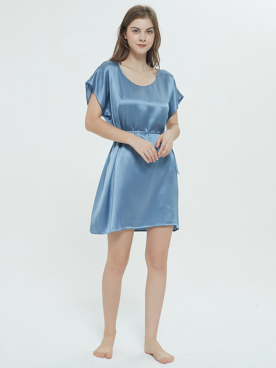 19 Momme Comfortable Short Sleeved Silk Nightgown