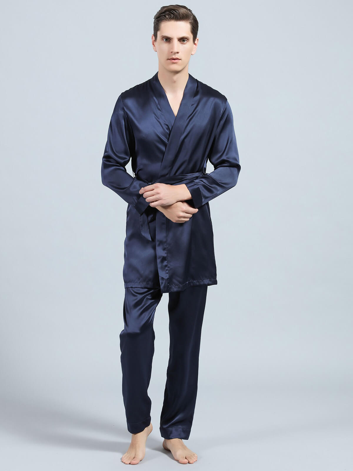 22 Momme Silk Kimono Pajama Set For Men