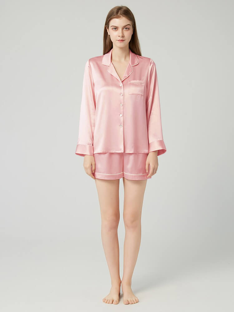 19 Momme Classic Long Sleeve Silk Pajama Shorts Set