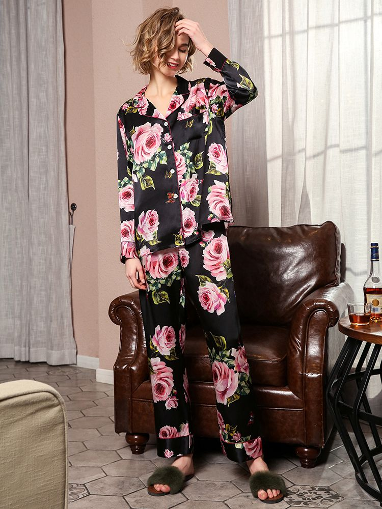 19 Momme Rose Floral Silk Pajama Set
