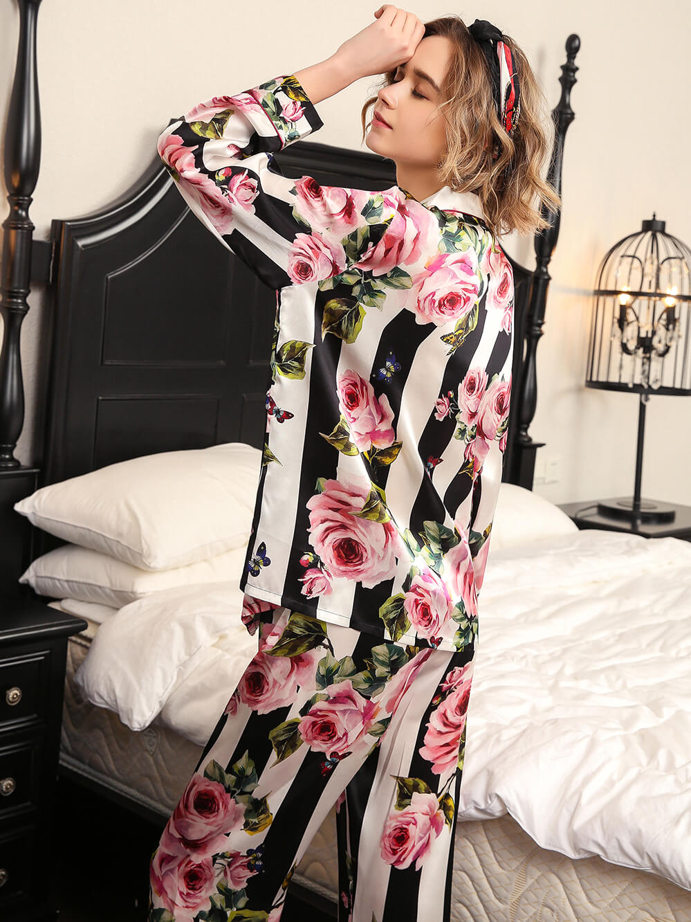 2019 New 19 Momme Striped Floral Silk Pajama Set