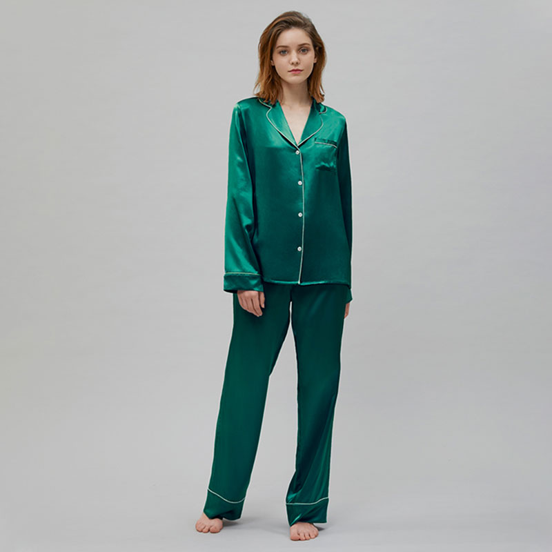 Double-faced Smooth Silk Charmeuse Pajama Set For Women