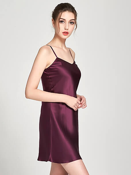 19 Momme Classic Short V Neck Silk Nightgown