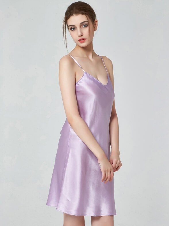 19 Momme Classic V Neck Silk Nightgown
