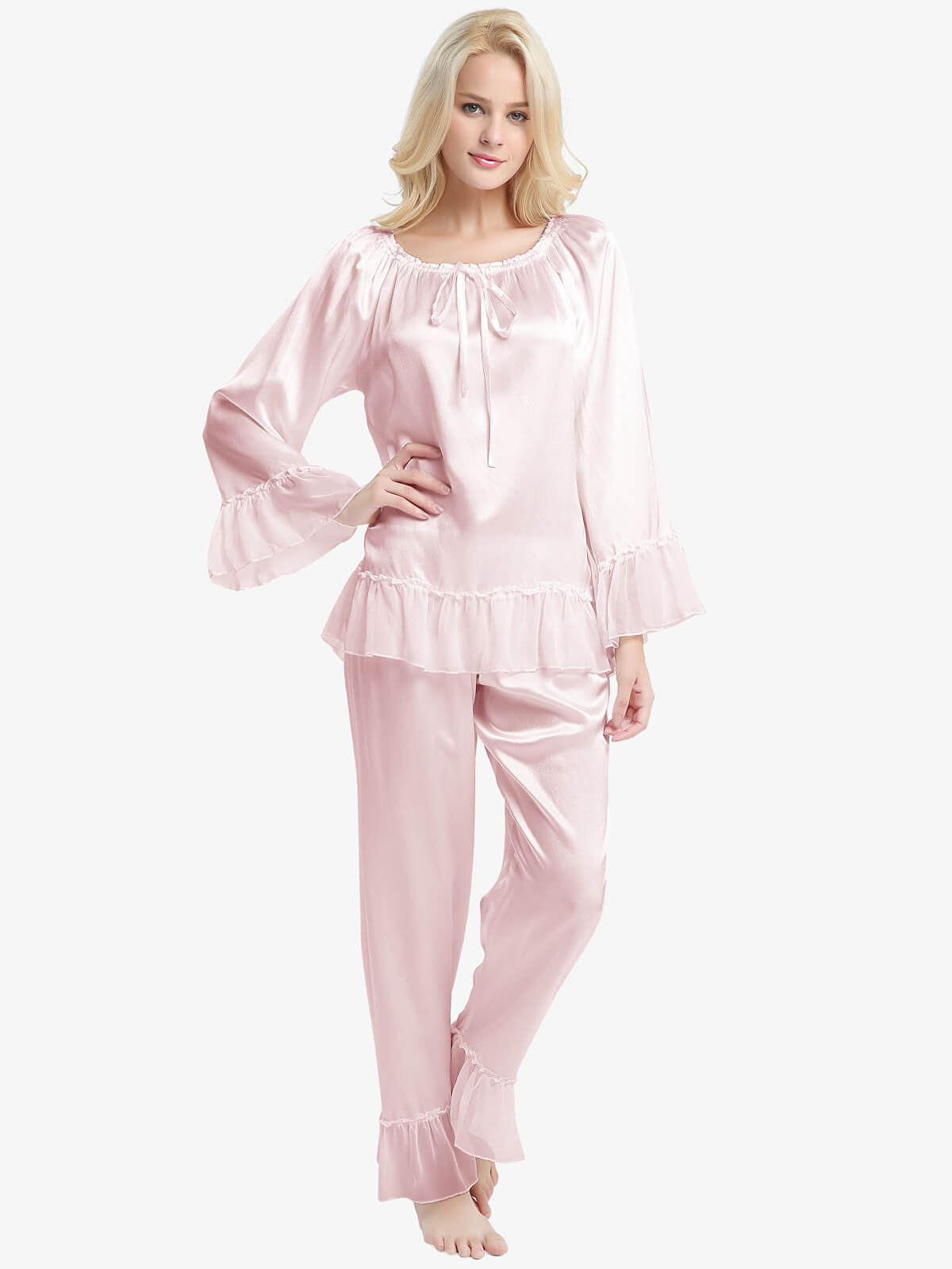 22 Momme Ruffled Long Silk Pajama Set For Women