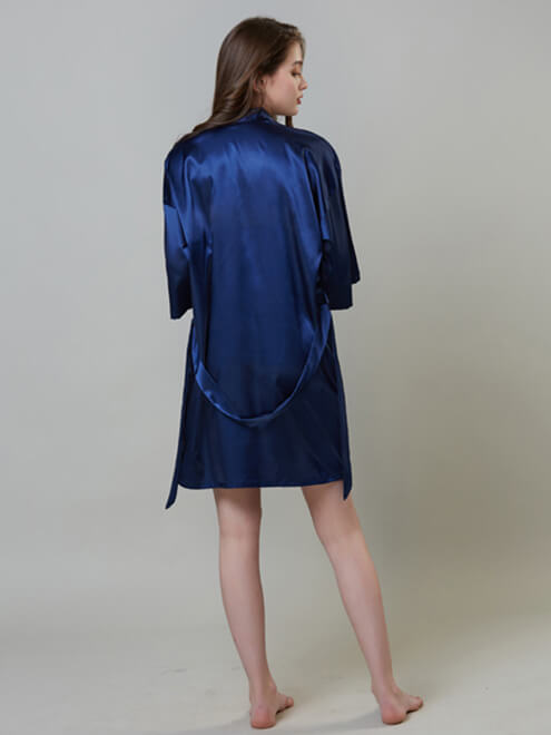 22 Momme Classic Simple Short Silk Robe