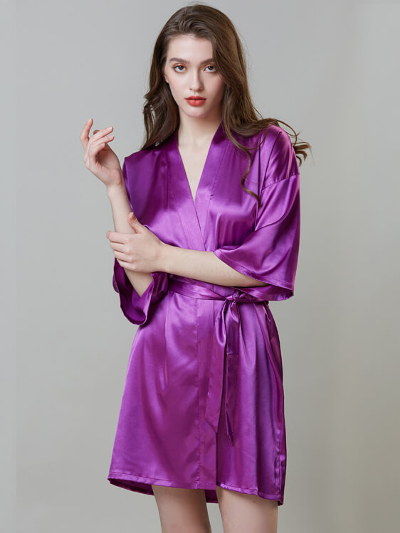 Embroidered Applique Sexy Silk Nightgown