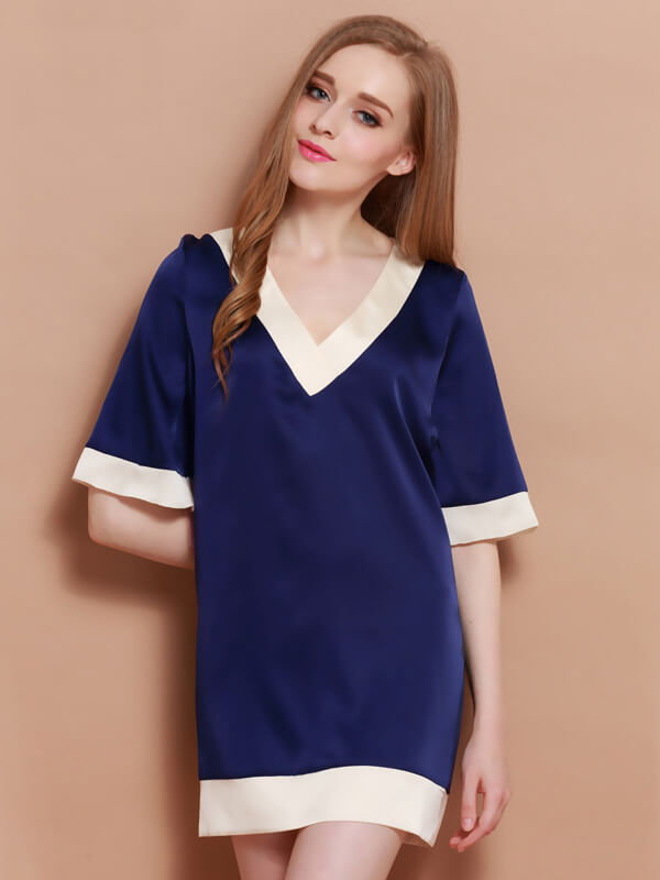 19 Momme Comfortable A-line Silk Nightgown With Bell Sleeves