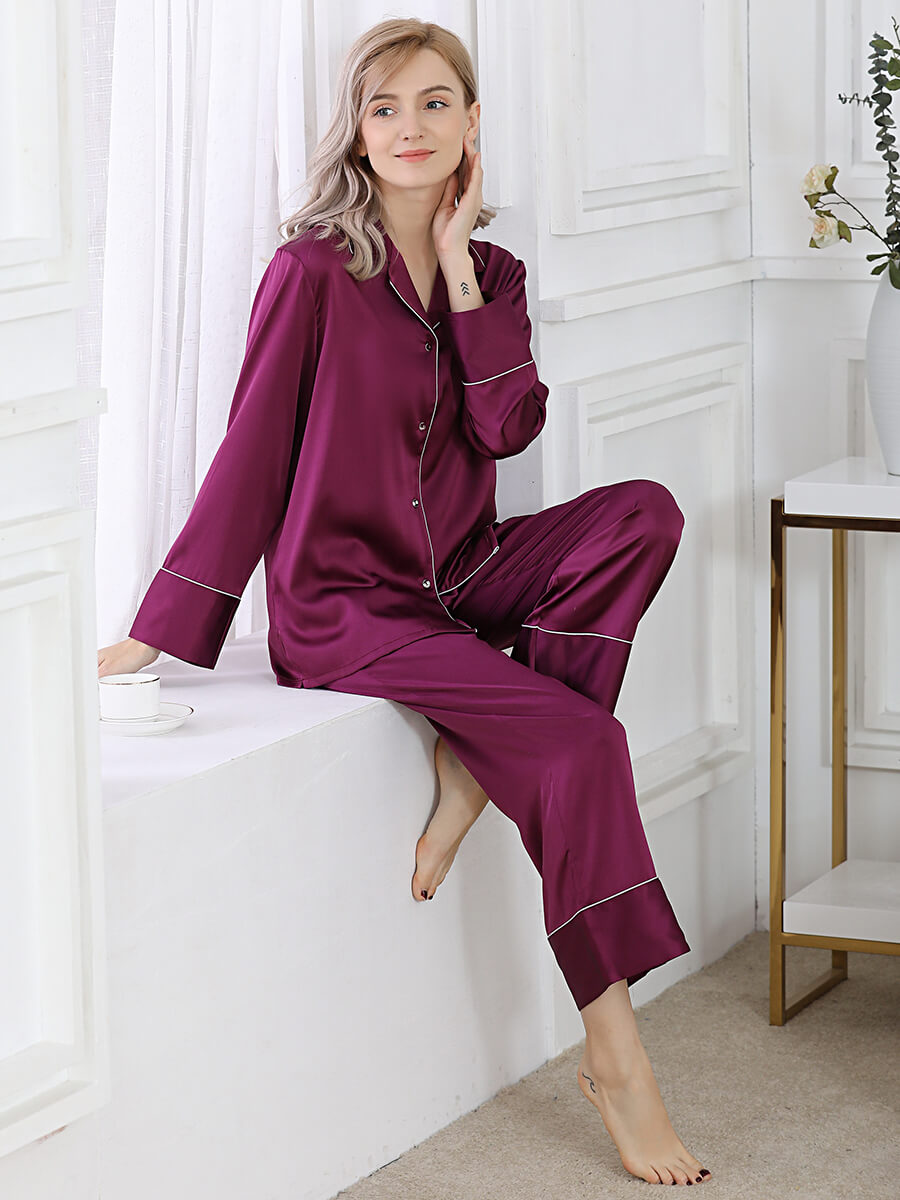 22 Momme Purple Silk Pajamas Sets For Women
