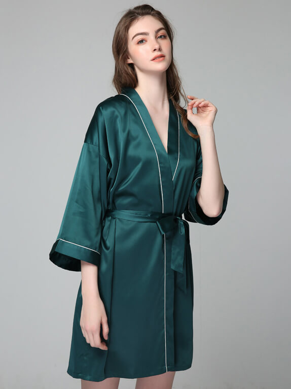 Short Trimmed Silk Bride Robes Silk Kimonos With Belts