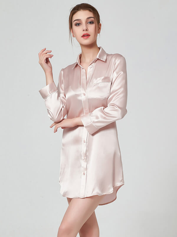 Long-sleeve Button Up Silk Nightshirt With Chic Shirt Collar