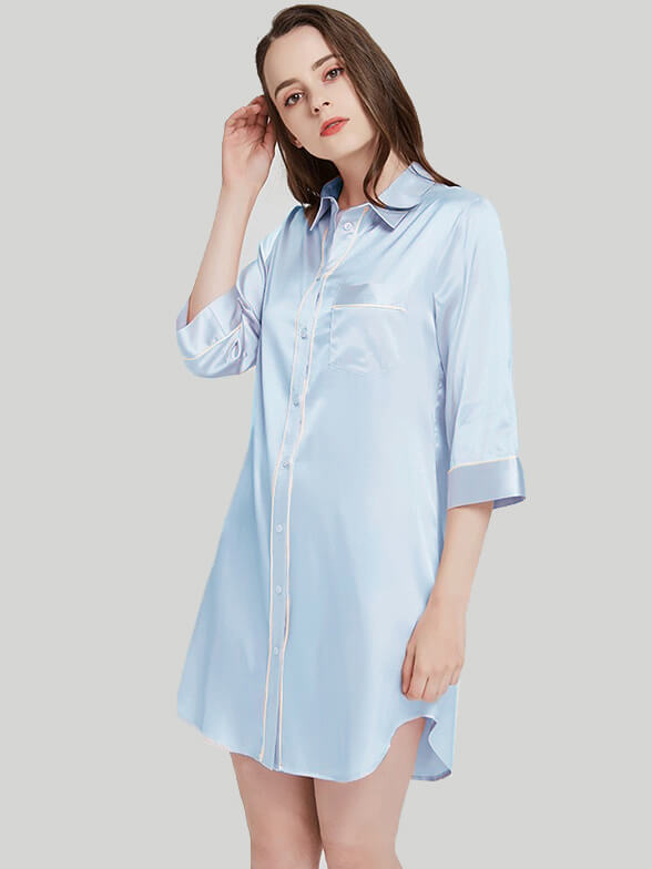 22 Momme Half Sleeved Silk Nightshirt With Trimming