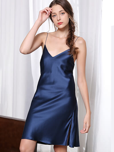 19 Momme Sexy V-Neck Silk Chemise With Side Slits