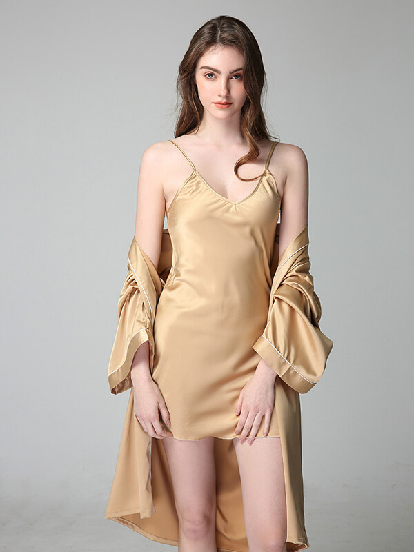 22 Momme Classic Short Silk Nightgown and Robe Set