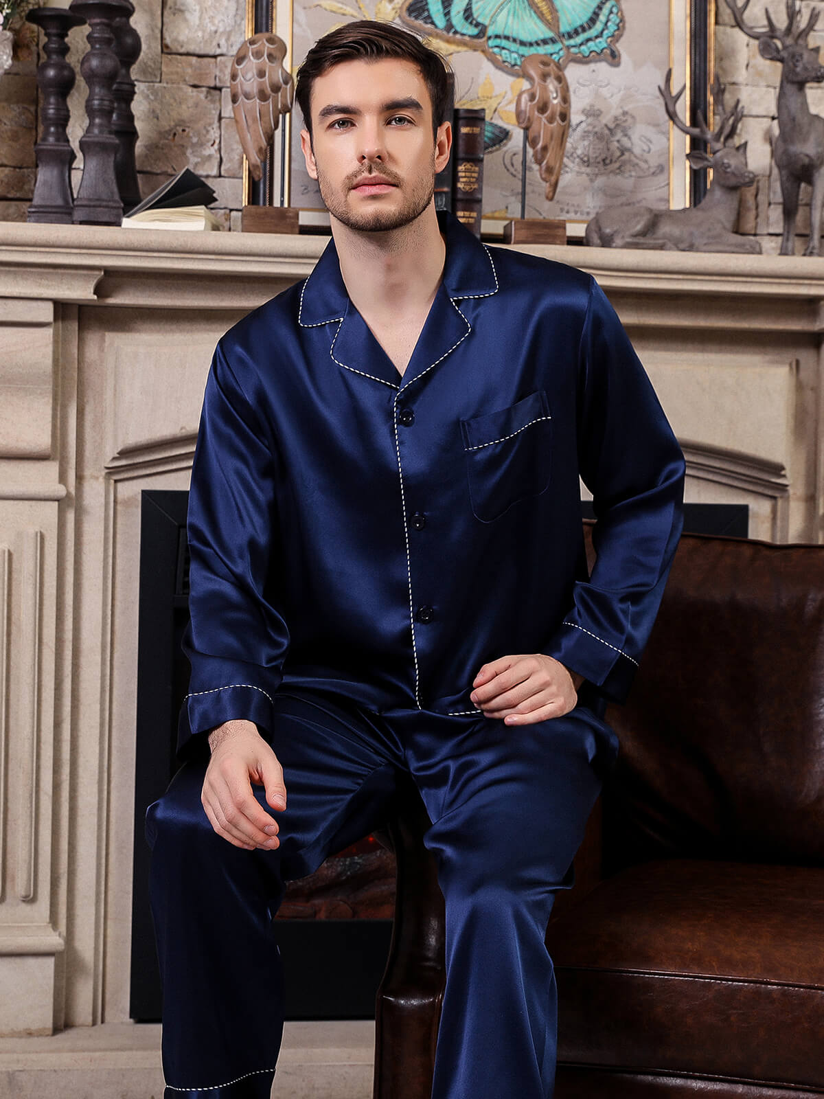 22 Momme Navy Blue Mens Silk Pajama Set - Click Image to Close