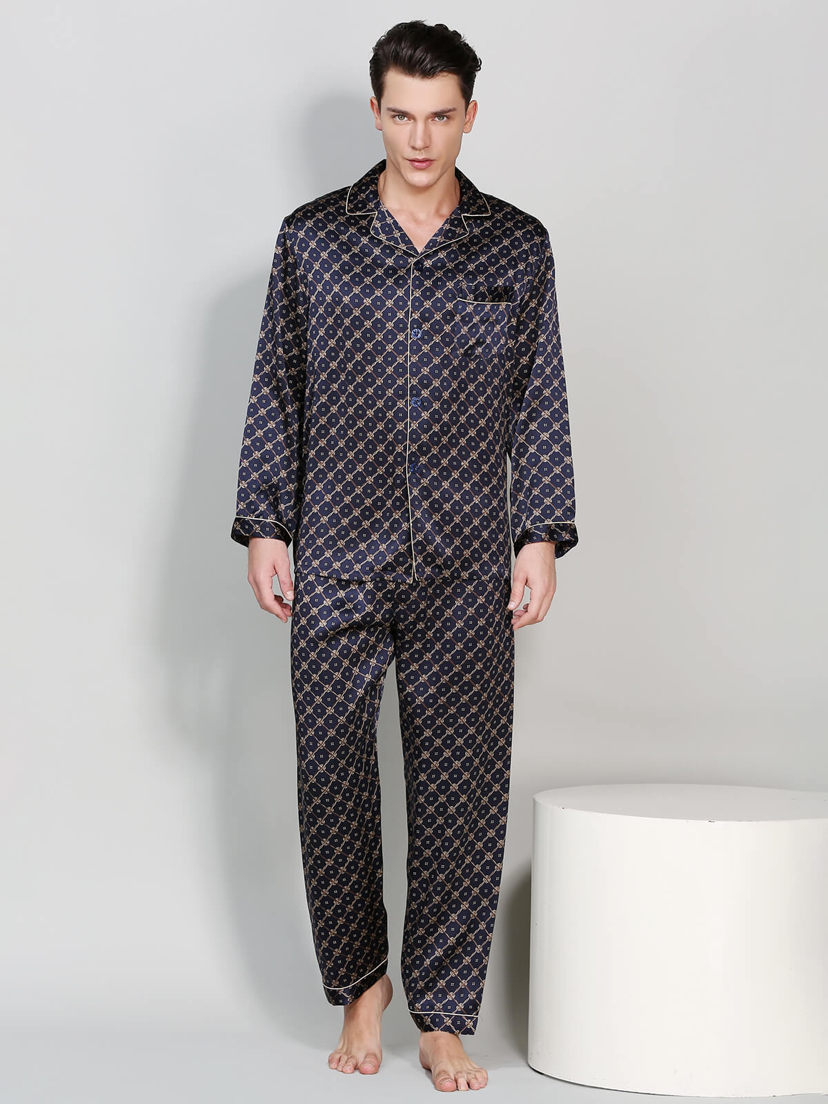 22 Momme Mens Printed Pattern Silk Pajama Set