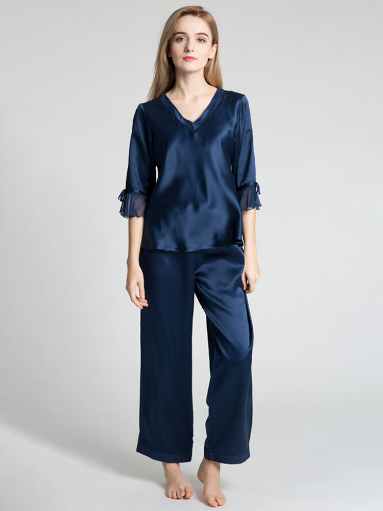 22 Momme Half-sleeved Silk Pajama Set For Women