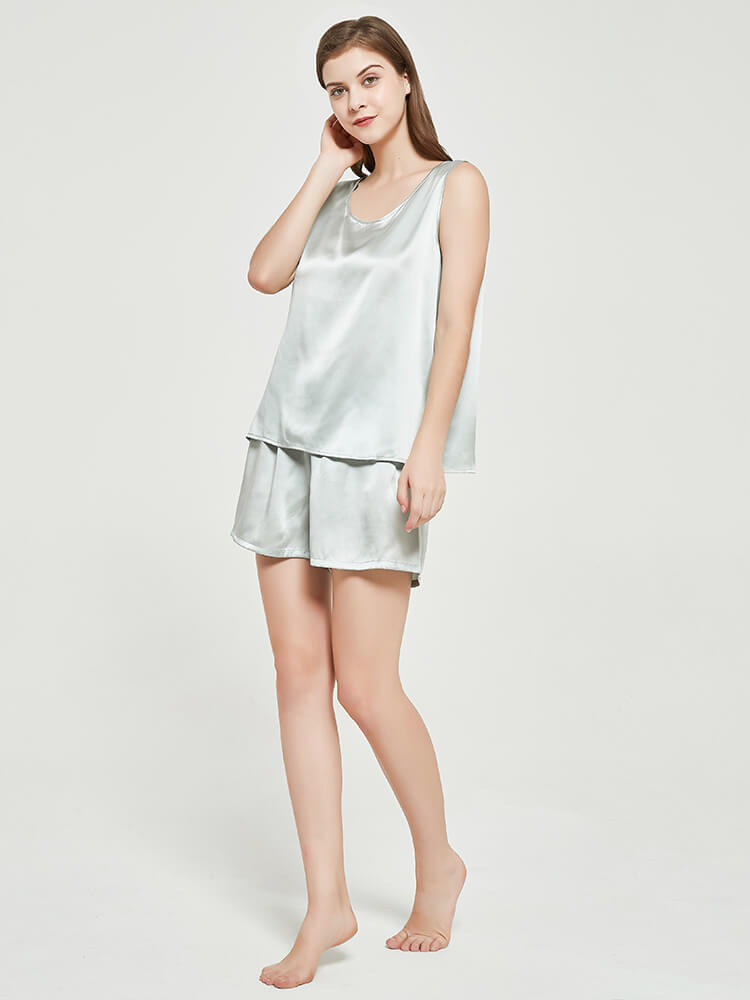 19 Momme Comfy Silk Tank Pyjamas Set With Drawstring