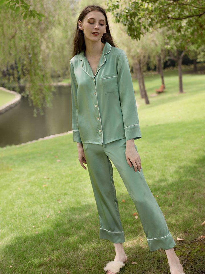 19 Momme Fresh Color Long Silk Pajama Sets for Women