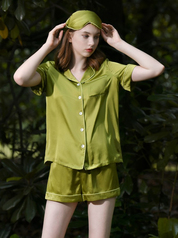 19 Momme Fresh Color Short Silk Pyjamas Sets
