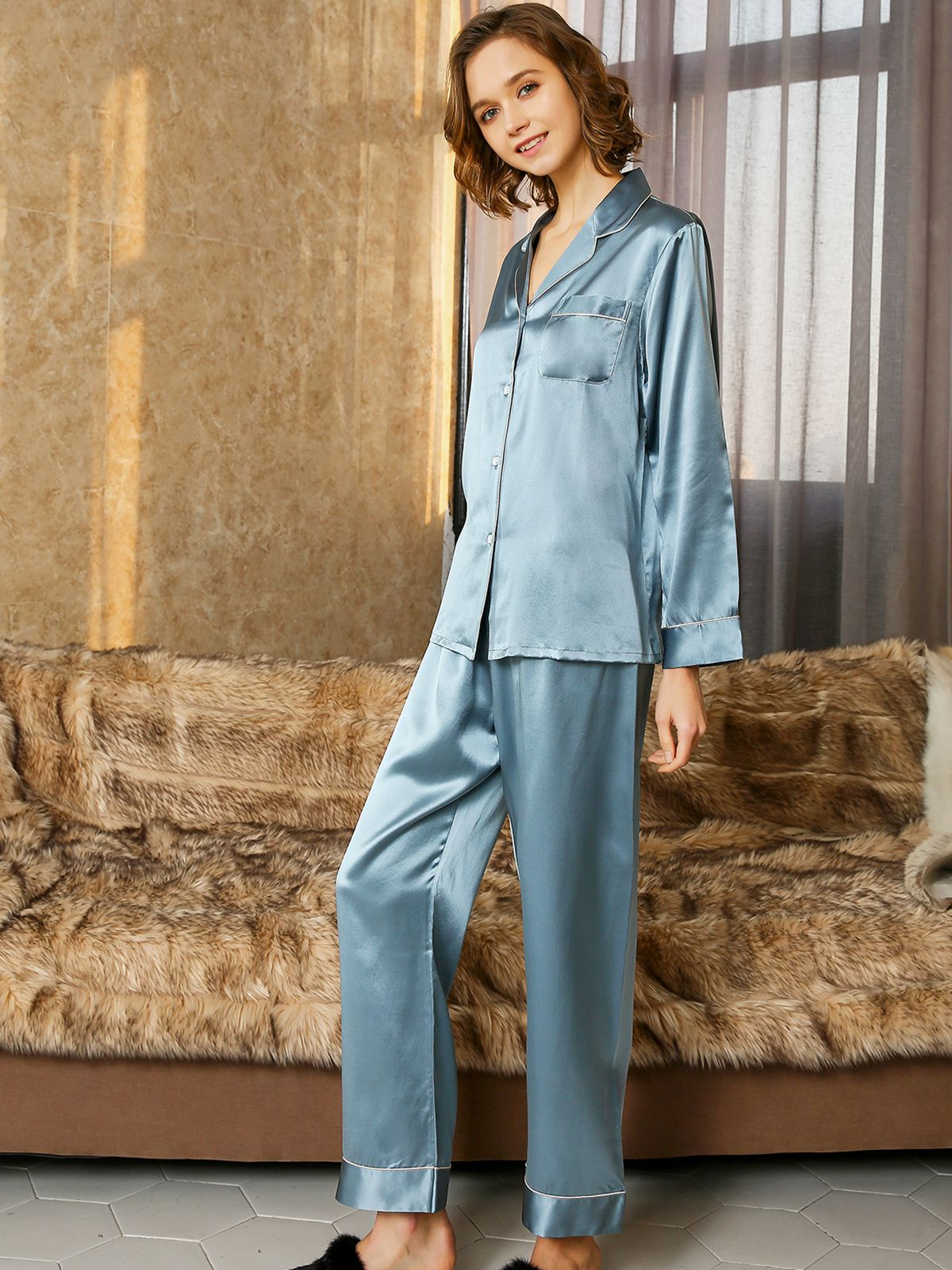19 Momme Blue Haze Long Silk Pajamas Sets