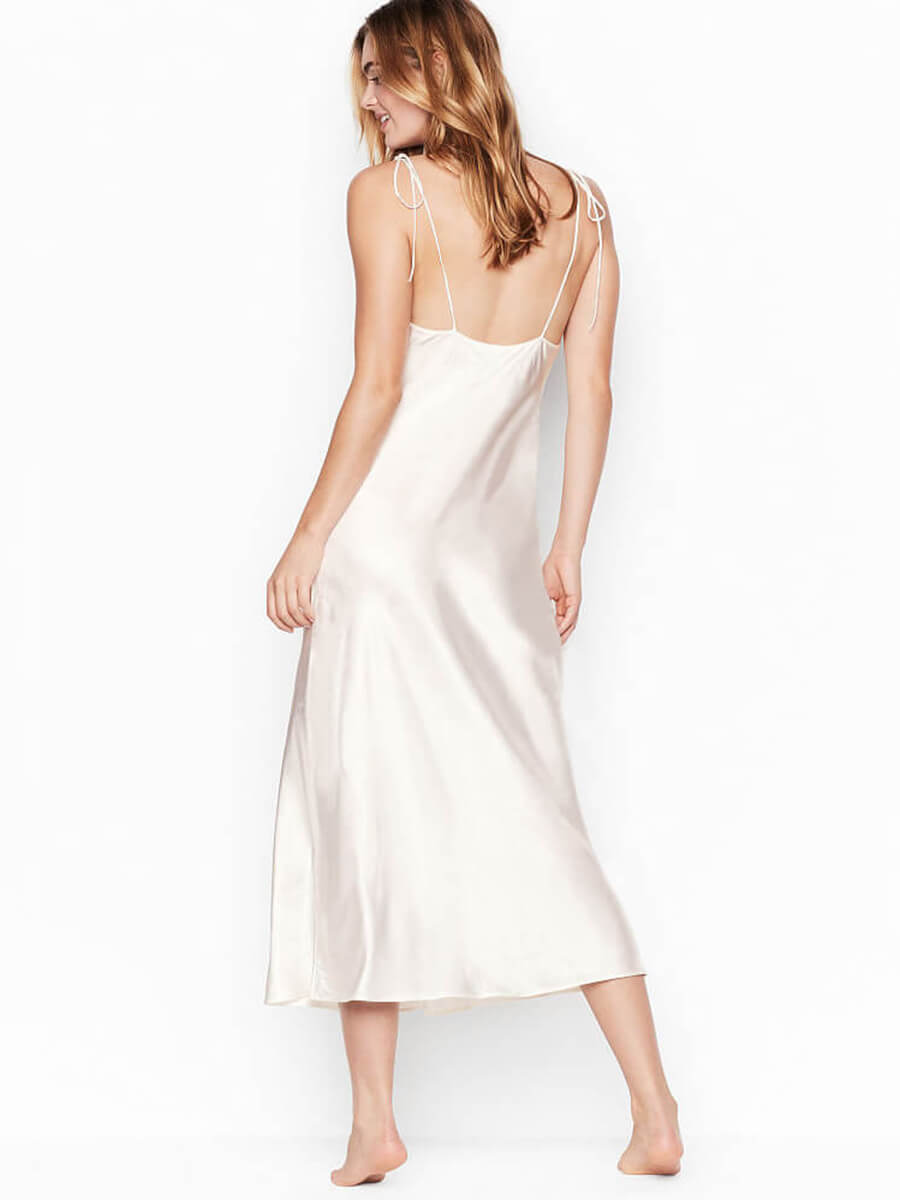 19 Momme Midi Mulberry Silk Nightgown with Lace-up Straps