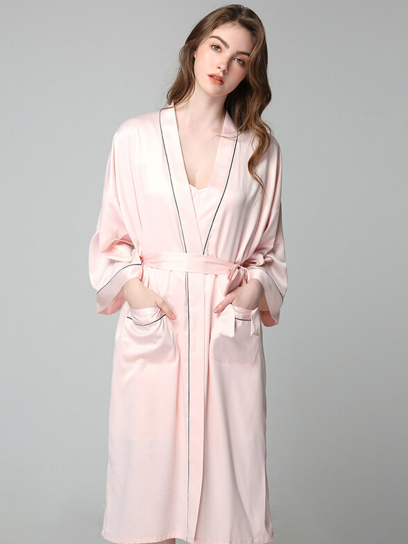 22 Momme Classic Long Silk Nightgown and Robe Set