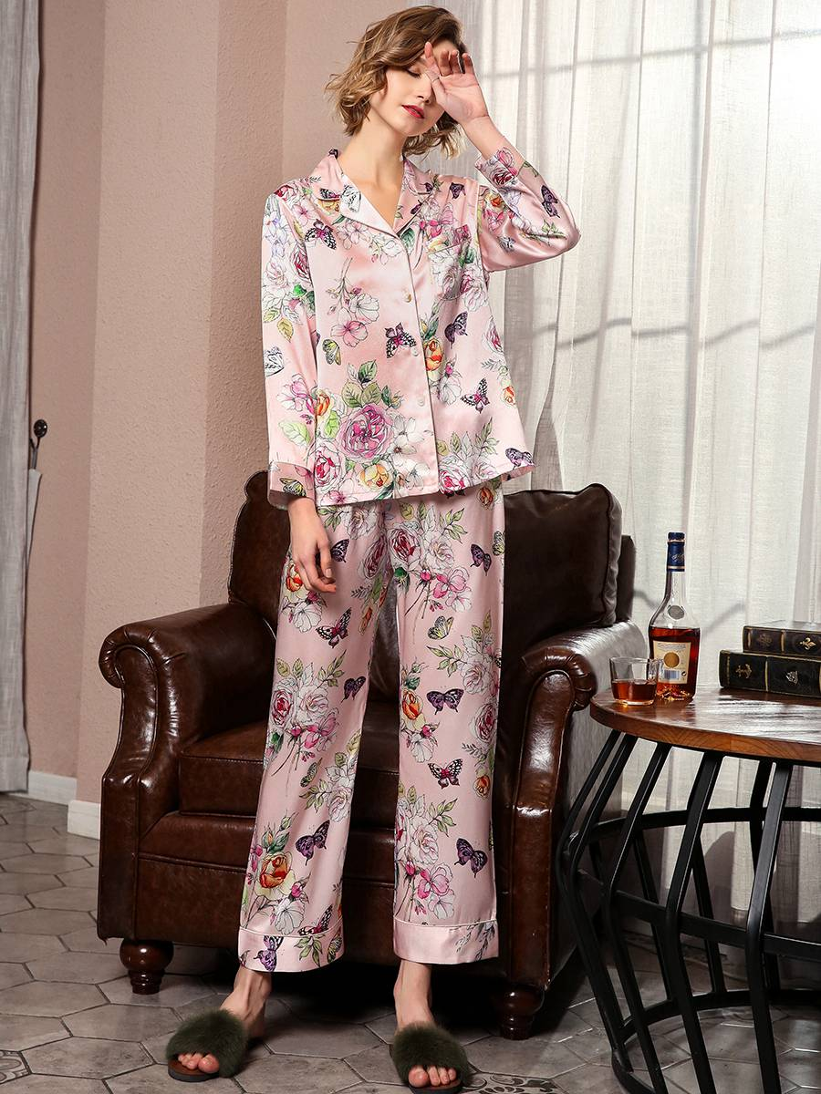19 Momme Butterfly Print Floral Silk Pajama Set