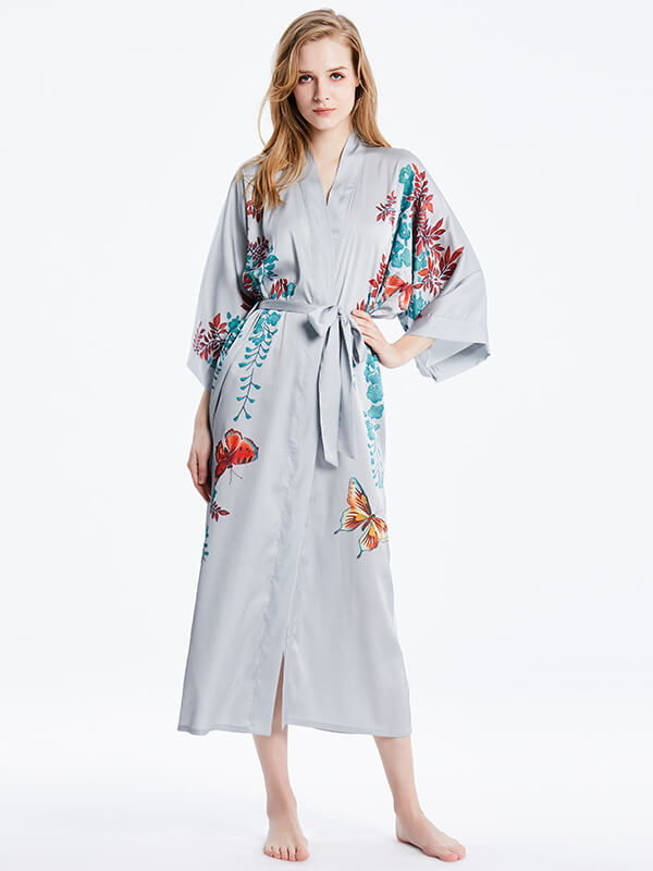 16 Momme Beautiful Butterfly Print Long Silk Kimono Robe