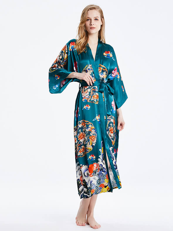 16 Momme Chinese Royal Pattern Hand Print Long Silk Kimono Robe