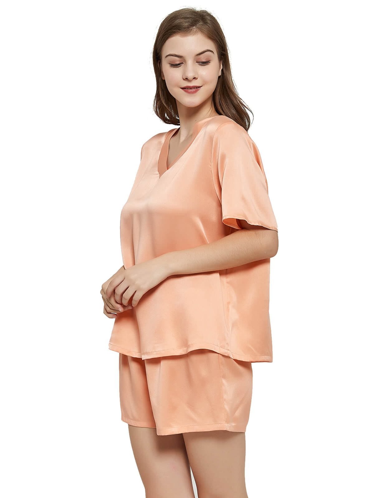22 Momme Short Womens Silk Shirt and Shorts Pajama Set