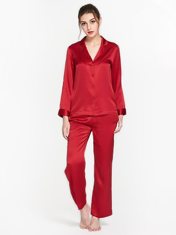 22 Momme Solid Color Full Length Silk Pajama Set For Women