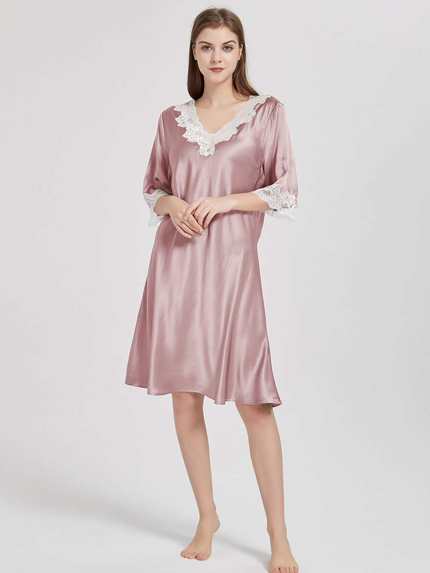 19 Momme Half Sleeves V-Neck Silk Nightgown With Rose Lace Trim