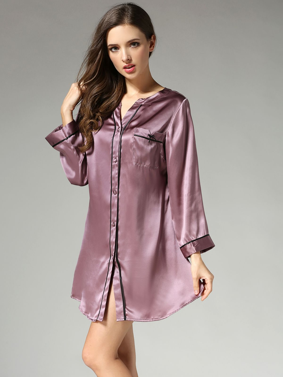19 Momme Ladies Long Sleeve Comfortable Silk Nightshirts