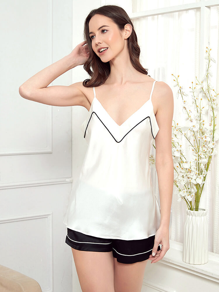 19 Momme Black And White Contrast Color Silk Camisole Set