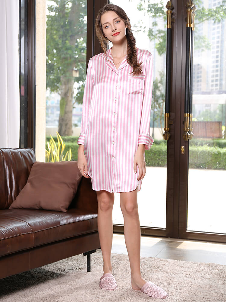 22 Momme Pink And White Womens Striped Mulberry Silk Nightshirt