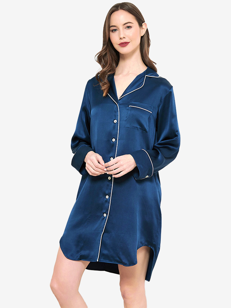 22 Momme Luxurious Mulberry Silk Sleep Shirts For Women