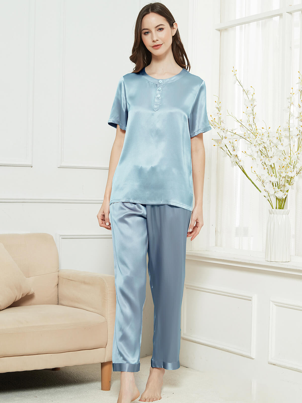 19 Momme Pullover Short Sleeves Silk Pajama Set For Women